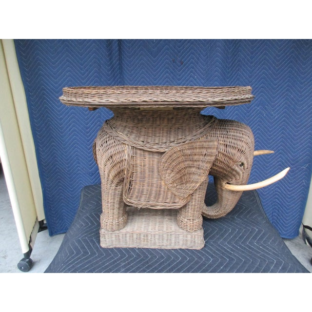 20th Century Boho Chic Wicker Elephant Side Table For Sale - Image 4 of 8