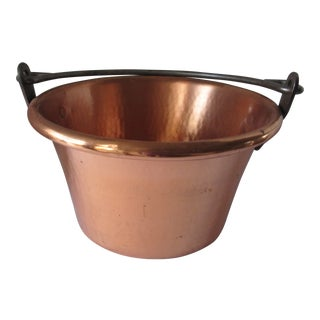 Vintage Solid Copper Pot With Rolled Edges For Sale