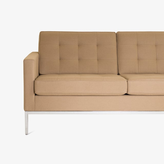 Mid-Century Modern Florence Knoll Sofa in Camel Wool Flannel For Sale - Image 3 of 8