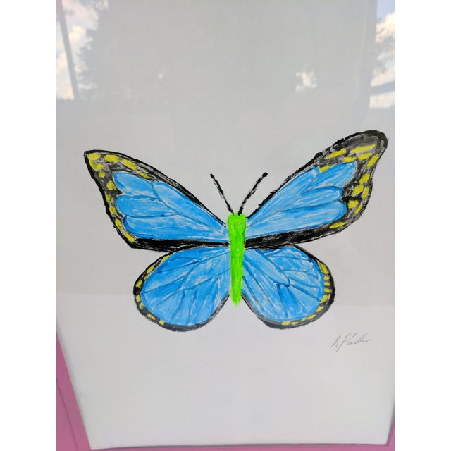 Blue Original Acrylic Butterfly Painting Signed and Framed For Sale - Image 8 of 13