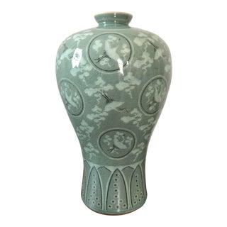Vintage Korean Celadon Crackle Glaze Crane Vase