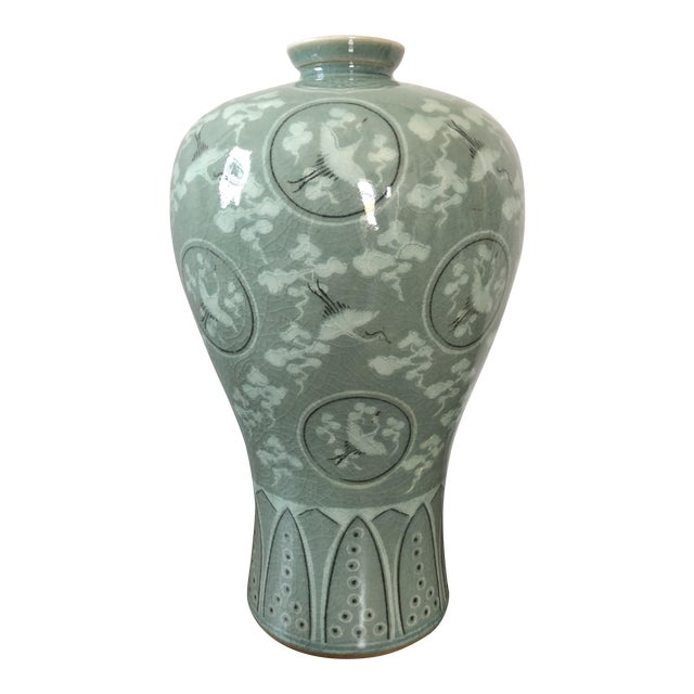 Vintage Korean Celadon Crackle Glaze Crane Vase Chairish