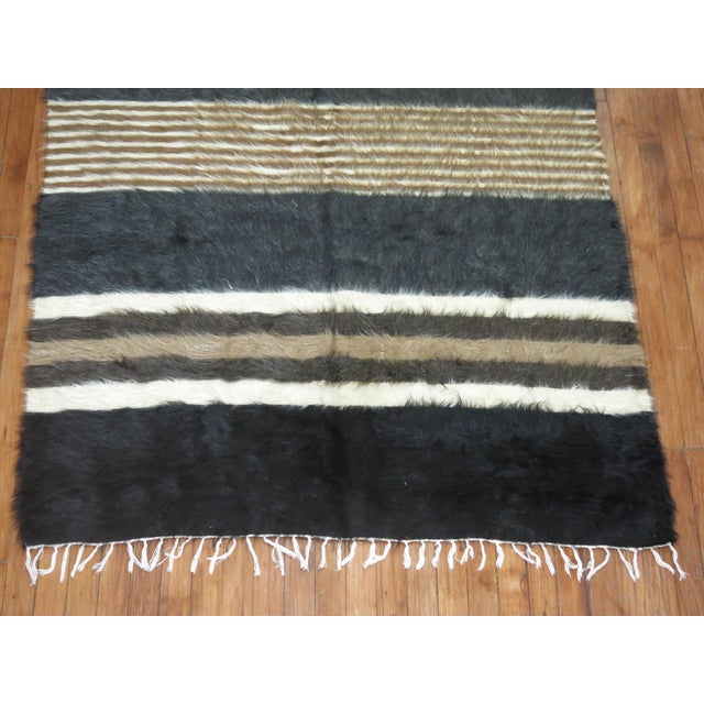 "Vintage Striped Mohair Rug / Throw - 4'4"" x 6' - Image 6 of 6"