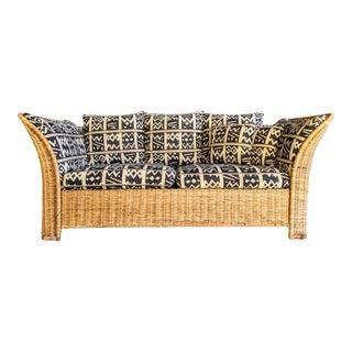 Boho Chic Kuba Cloth Style Rattan Sofa For Sale