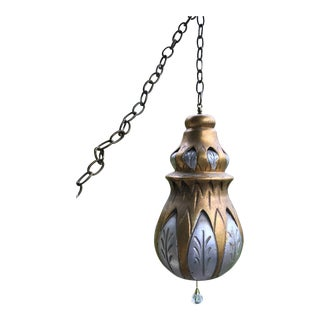 1970s Boho Chic Gold and Silver Hanging Swag Lamp Light For Sale