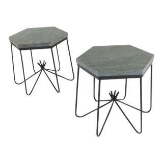 Vintage Art Deco Iron Marble End Tables - a Pair For Sale