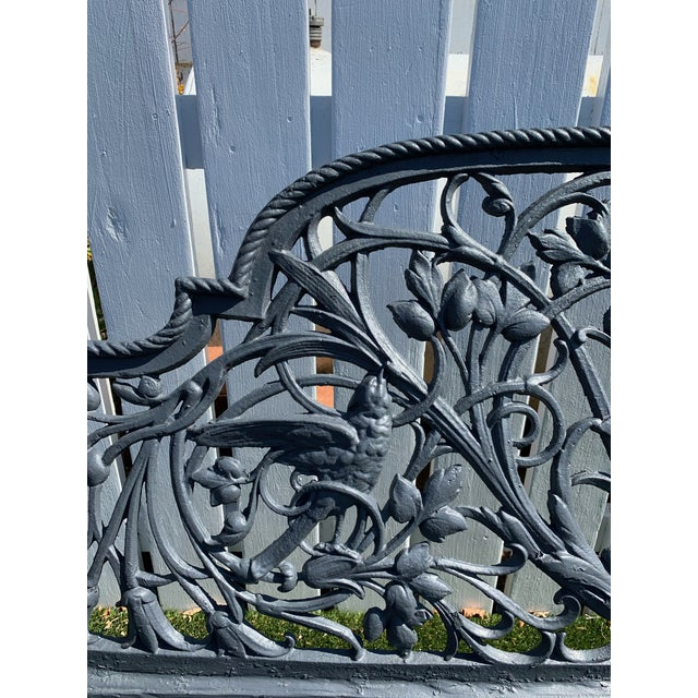 Antique French Black Iron Bench With Birds and Nymph For Sale - Image 10 of 13