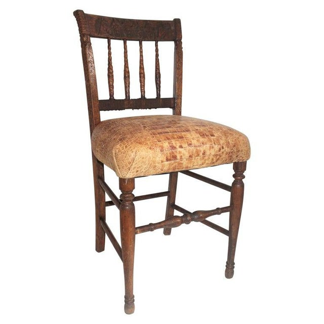 19th Century Handmade English Chess Carved Chair For Sale - Image 10 of 10