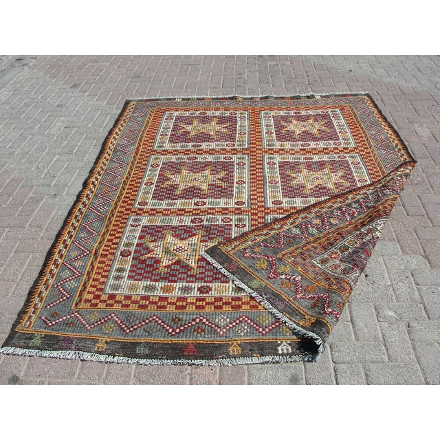 "Vintage Handmade Turkish Kilim Rug - 6'4"" X 8'3"" For Sale - Image 11 of 11"