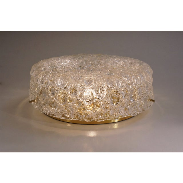 1970s 1970s Hillebrand Flush Mount Brass & Glass Shade, German For Sale - Image 5 of 11