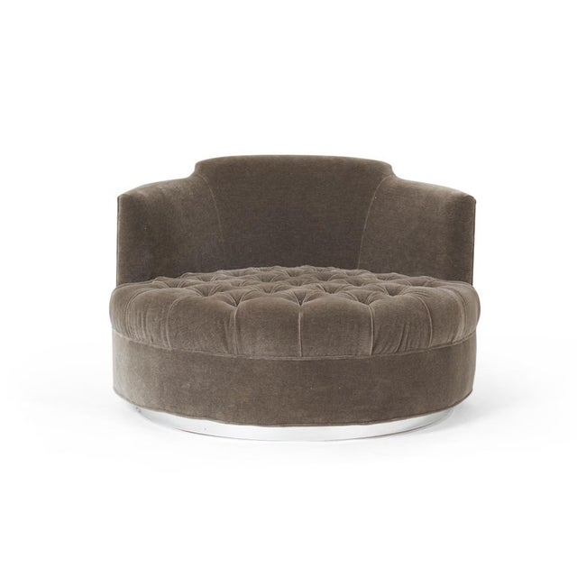Contemporary Harvey Probber Large Tufted Swivel Chair on Chrome Base For Sale - Image 3 of 7
