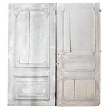 Image of Rustic Pair of 19th Century French Painted Panel Doors For Sale