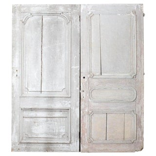 Rustic Pair of 19th Century French Painted Panel Doors For Sale