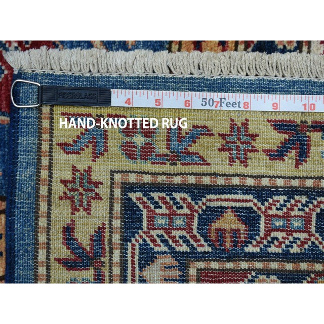 Hand Knotted Blue Kazak Wool Rug For Sale - Image 12 of 13