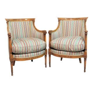 19th Century French Empire Carved Maple Bergere - a Pair For Sale