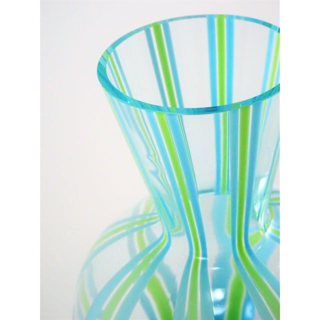 Glass Hand Blown Green and Blue Glass Vase For Sale - Image 7 of 13