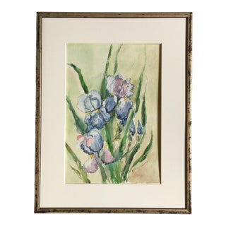 1970s Vintage Bouquet of Iris Flowers Watercolor Painting For Sale