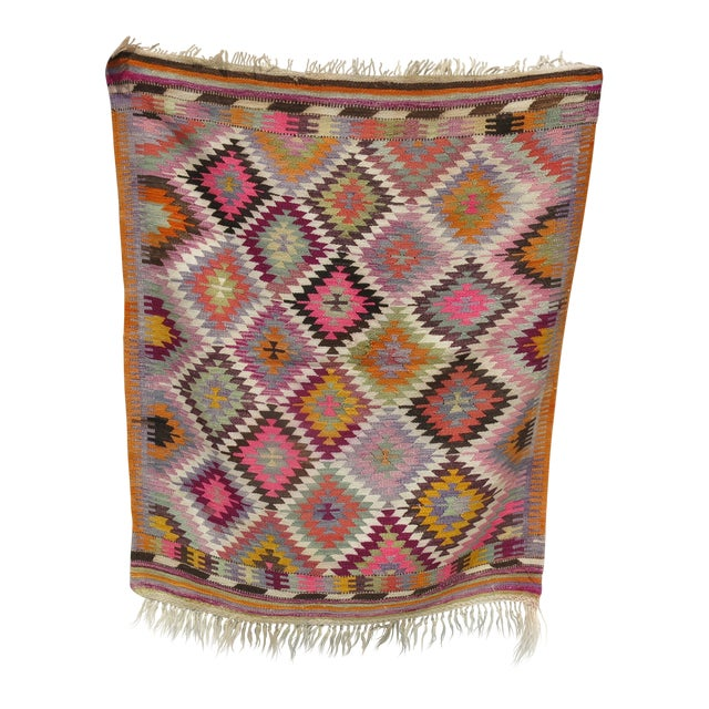Vintage Flat Weave Kilim Rug - 3'9'' X 4'6'' For Sale