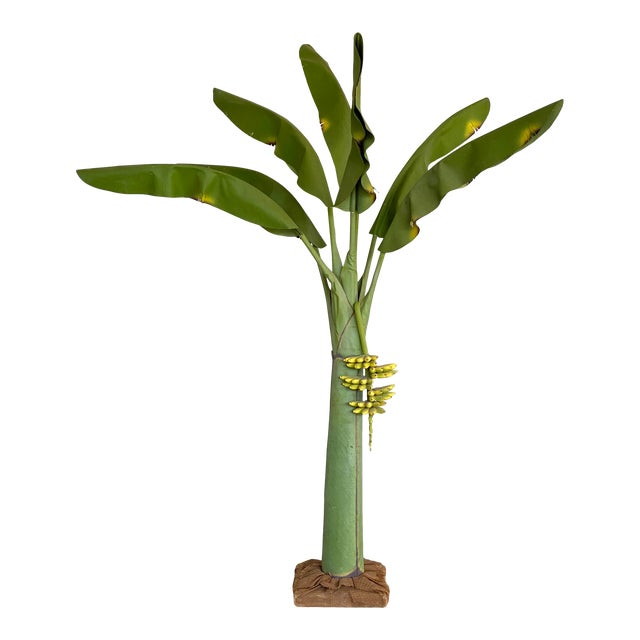 Vintage Coastal Regency Green Canvas Banana Palm Tree For Sale