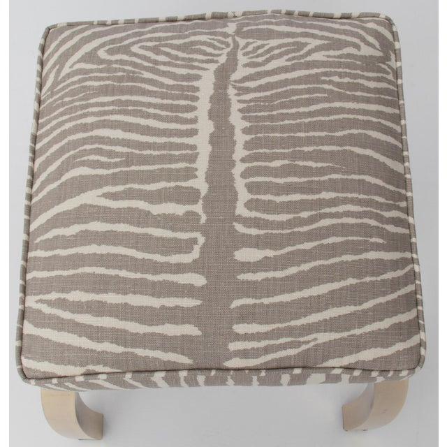 Pair of Le Zebre Upholstered Brass Benches For Sale - Image 4 of 8