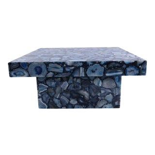 Contemporary Backlit Blue Agate Coffee Table With Agate Stone Base For Sale