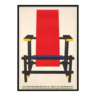 Vintage Custom Framed Gerrit Rietveld Chair of De Stijl Art Movement 1977 Museum Exhibition Poster For Sale