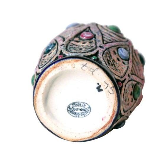 Art Nouveau Jeweled Pottery Vase - Image 3 of 3