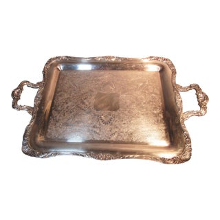 1950s William Rogers Silverplate Serving Tray Chased Silver Seashells Leaves For Sale