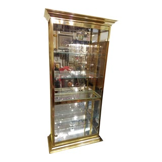 Mastercraft Hollywood Regency Brass Vitrine Glass Cabinet