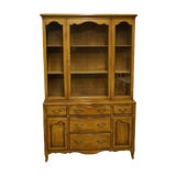 Image of 1950s French Country Drexel Heritage Buffet With Display China Cabinet For Sale