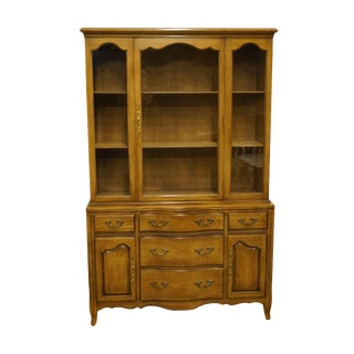 1950s French Country Drexel Heritage Buffet With Display China Cabinet For Sale
