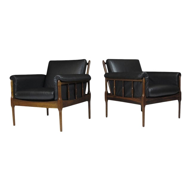Torbjørn Afdal Rosewood Lounge Chairs - a Pair For Sale