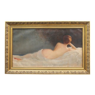 C.1900 Signed Female Nude Oil Impressionist Painting
