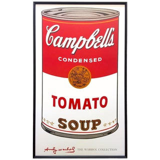 "Andy Warhol Foundation Vintage Large Framed Lithograph Print Iconic Pop Art Poster "" Campbell's Soup I ( Tomato ) "" 1968 For Sale"