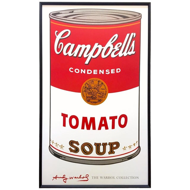 """Andy Warhol Foundation Vintage Large Framed Lithograph Print Iconic Pop Art Poster """" Campbell's Soup I ( Tomato ) """" 1968 For Sale"""