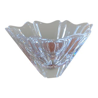 Orrefors Scandinavian Mid Century Modern Crystal Candy Dish, Signed For Sale