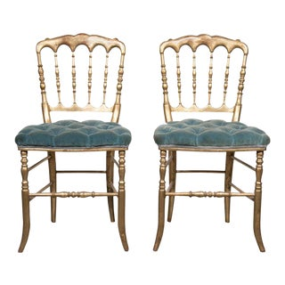Pair of 19th Century Napoleon III Giltwood Opera Chairs