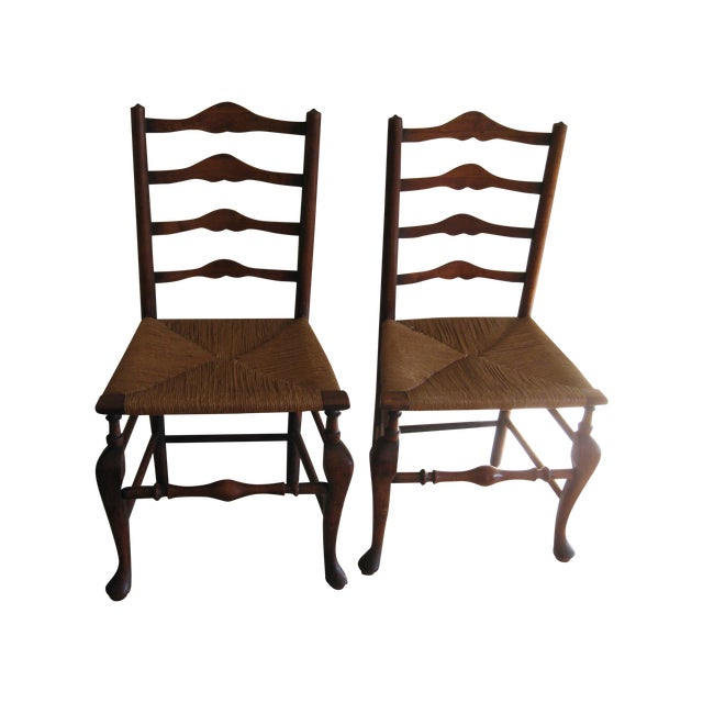 Antique English Ladderback Chairs - Pair For Sale