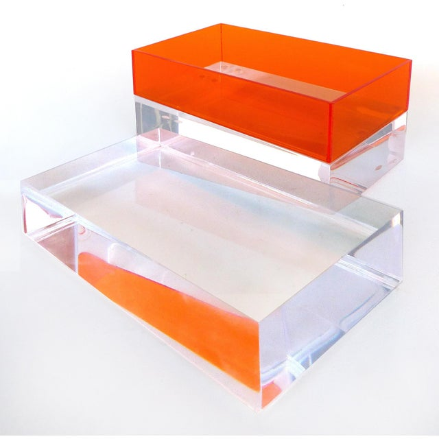 Custom Clear and Orange Lucite Trinket or Jewelry Box For Sale - Image 4 of 6