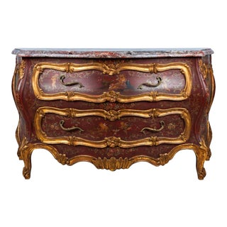 Venetian Carved Parcel Gilt Commode With Marble Top For Sale