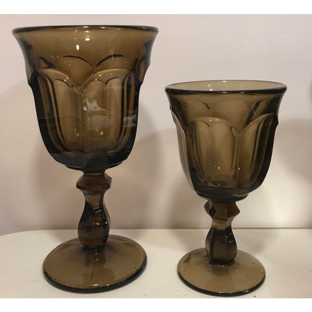 Traditional 1970s Old Williamsburg Nut Brown Glass Goblet Drinkware Set of 16 For Sale - Image 3 of 5