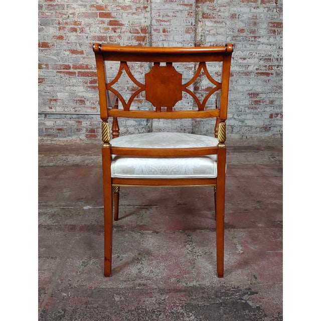 1990s Vintage Baker Painted Regency Arm Chairs -Set of 4 For Sale - Image 4 of 12