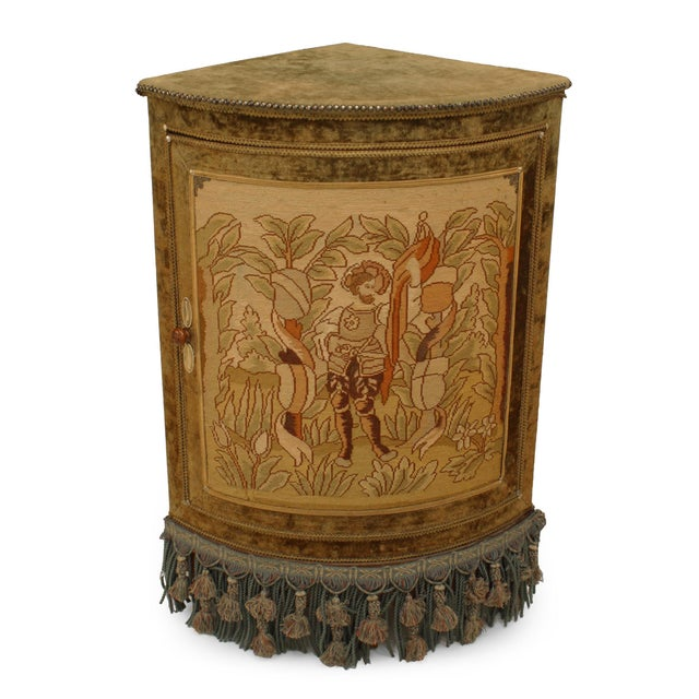 French French Victorian Style Velvet Corner Commode Cabinet For Sale - Image 3 of 3