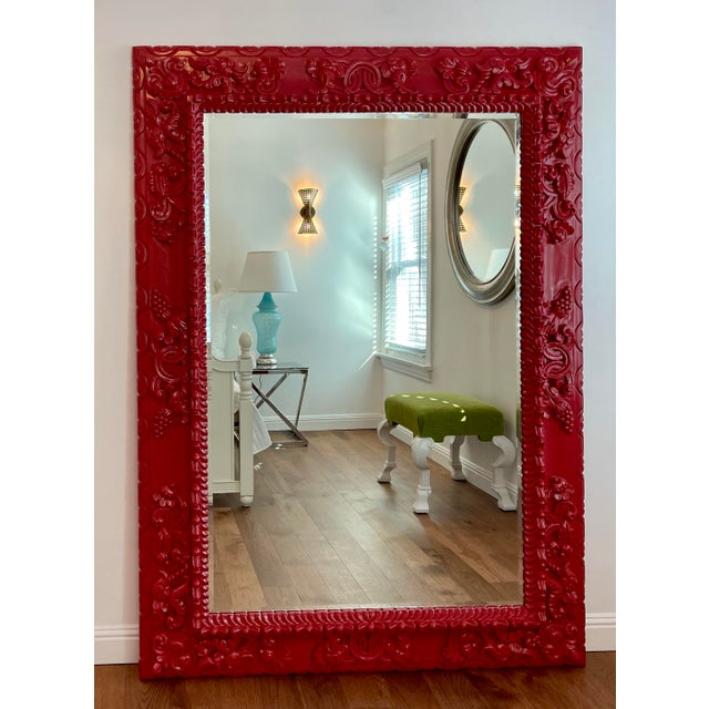 Randy Esada Designs for Prospr Red Lacquer Carved Wood Italian Floor Dressing Mirror by Randy Esada Designs For Sale - Image 4 of 4