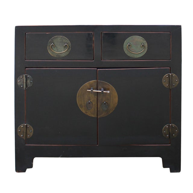 Vintage Distressed Black Lacquer Oriental Chinese Side Table Cabinet For Sale In San Francisco - Image 6 of 8