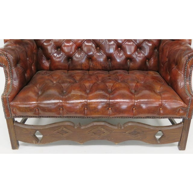 Brown Leather Chesterfield Settee & Carved Skirt - Image 4 of 7