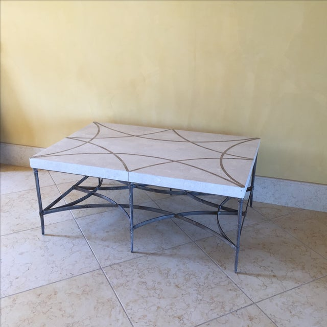 Contemporary Faux Stone and Metal Coffee Table For Sale - Image 3 of 9
