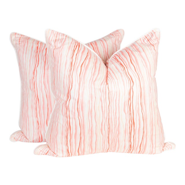 Abstract Pink Squiggle Pillows - a Pair For Sale