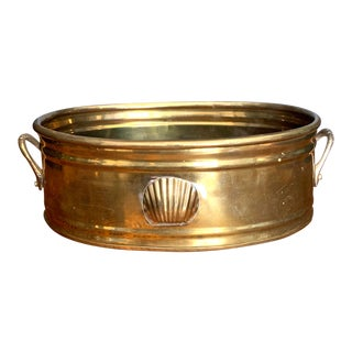 Vintage Brass Scalloped Shell Planter For Sale