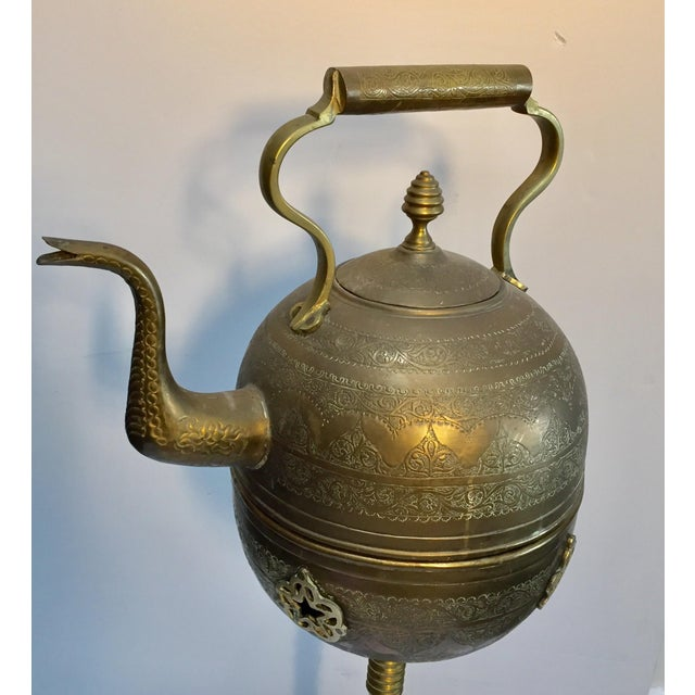 Moroccan Antique Brass Tea Kettle Pot on Stand For Sale - Image 9 of 12